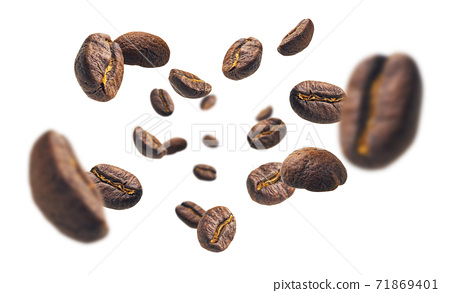 Coffee beans levitate on a white background 71869401