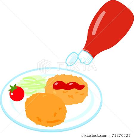 炸丸子配番茄醬 71870323