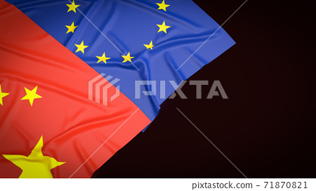 The Chinese  and  European union  flag  image 3d rendering 71870821