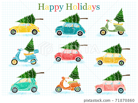 Winter cars with christmas tree and snow. Hand drawn illustration for card, poster and flyer. 71870860