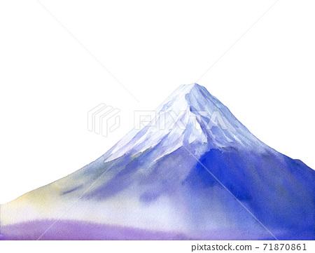 在早晨薄霧包裹的富士山的圖像。水彩插圖。白色背景 71870861