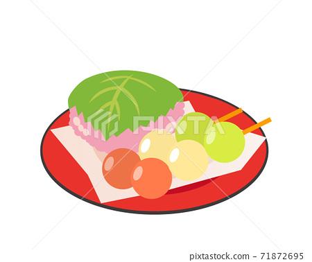 櫻花年糕和三色餃子的矢量圖 71872695