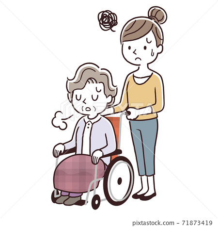 矢量圖材料:年輕女子推著輪椅上的高級女子走路,沮喪 71873419