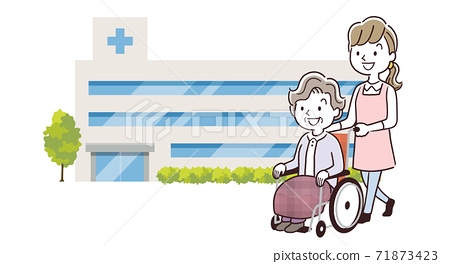 Vector Illustration Material: Senior women and staff women going to the hospital 71873423