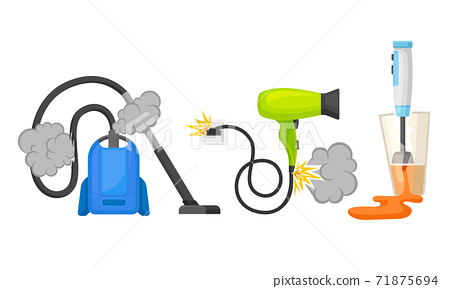 Broken Consumer Electronics with Burnt Vacuum Cleaner and Hair Dryer Vector Set 71875694