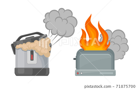 Broken and Damaged Home Appliances with Burnt Multicooker and Toasting Oven Vector Set 71875700