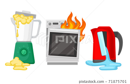 Broken and Damaged Home Appliances with Burnt Oven Vector Set 71875701