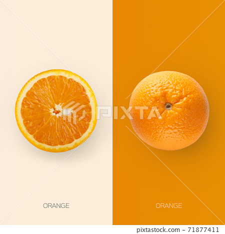 One fresh orange fruit and its half cut isolated on contrast backgrounds 71877411