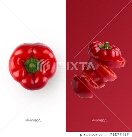 Fresh red paprika bell pepper whole and sliced isolated on contrast backgrounds 71877417