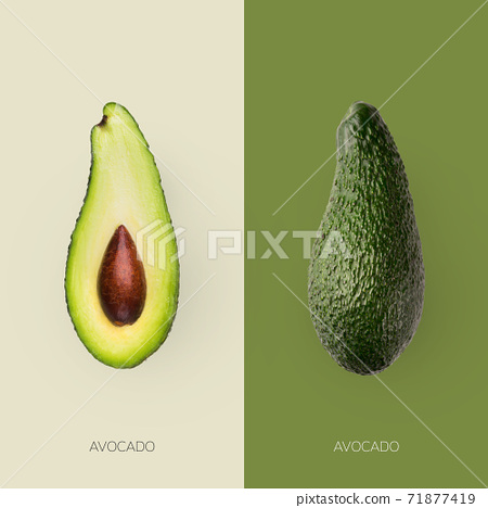 Fresh avocado and it's half with seed stone isolated on contrast backgrounds 71877419