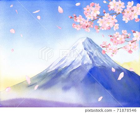 봄의 꽃 : 벚꽃과 후지산의 경치 수채화 일러스트 71878546