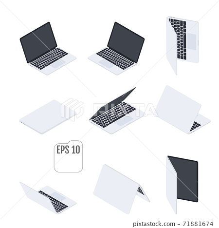 Flat Isometric Laptops. Flat Notebooks. 71881674