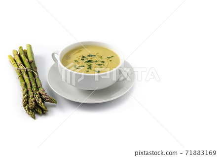 Fresh asparagus soup isolated on white background 71883169
