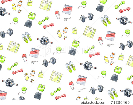 飲食和培訓背景壁紙水彩插圖 71886469