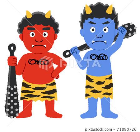 舊故事中出現的紅色和藍色惡魔的插圖 71890726