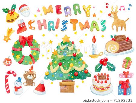 聖誕節水彩插圖 71895533