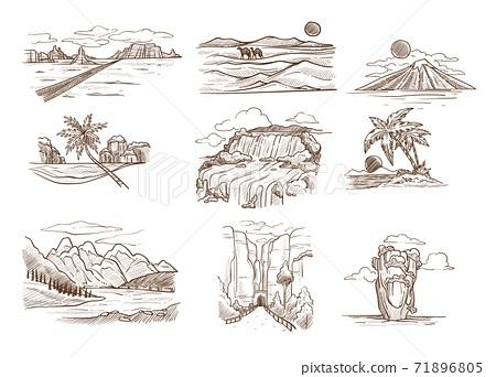 Landscape sketches wild nature seascape mountain and desert 71896805