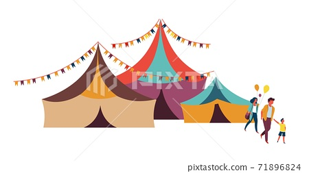 Family going to circus big top tent weekend entertainment 71896824