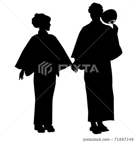 剪影浴衣夫婦Bon Odori節日浴衣兩個人手牽著手 71897149