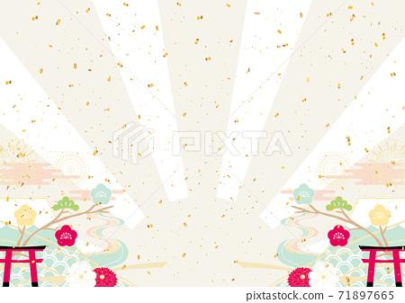 新年五彩紙屑日出背景 71897665