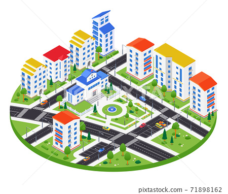 City district - modern vector colorful isometric illustration 71898162