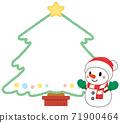 可愛的聖誕老人雪人和聖誕樹框架 71900464