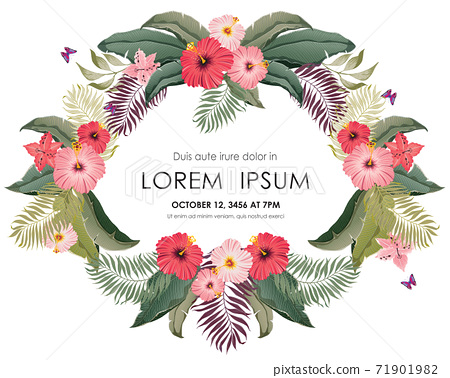 Vector illustration of tropical floral frame in summer for Wedding, anniversary, birthday and party. Design for banner, poster, card, invitation and scrapbook  71901982