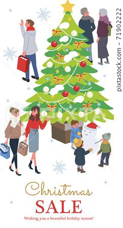 Christmas sale banner isometric Christmas people illustration 71902222