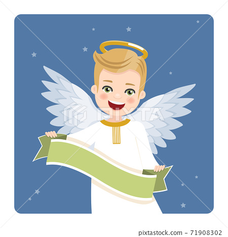 Foreground angel with ribbon on blue sky and stars background. Vector illustration 71908302