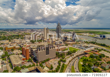 Aerial view of the downtown Mobile, Alabama waterfront skyline  71909227