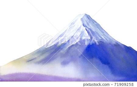 An image of Mt. Fuji wrapped in the morning mist. Watercolor illustration trace vector. 71909258