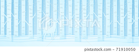 Reindeer among pine trees on snow in winter landscape with snow falling, paper art style 71910050