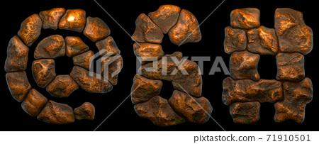 Set of rocky symbols at, ampersand, hash. Font of stone on black background. 3d 71910501