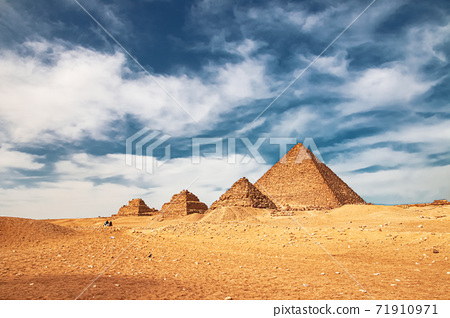 Ancient Pyramid of Mycerinus, Menkaura and the Pyramids of the Queens Menkaurev Giza, Egypt 71910971