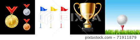 Golf icon set. Flag, ball, trophy cup and medal 71911879