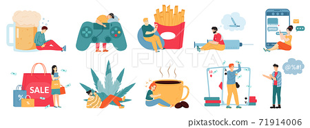 Bad addictions. Male and female characters with drug addiction, overeating, alcoholism, unhealthy lifestyle. Addicted people vector illustrations 71914006