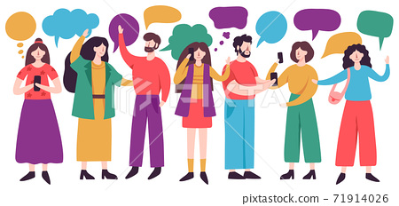 People conversation. Male and female characters chatting with speech bubbles, friends conversation. Social networking vector illustrations 71914026