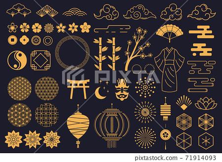 Japanese symbols. Oriental kabuki theatre, japanese or chinese kimono ornament, lotus, bamboo and lanterns. Asian traditional sketch vector symbols 71914093