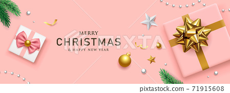 Gift box gold bow ribbon and pink ribbon merry christmas and happy new year banners 71915608