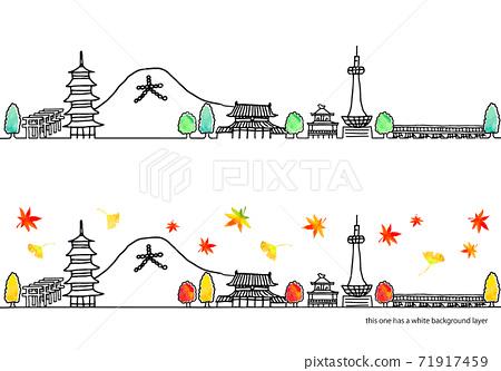 簡單的手繪秋季京都城市景觀線圖集 71917459