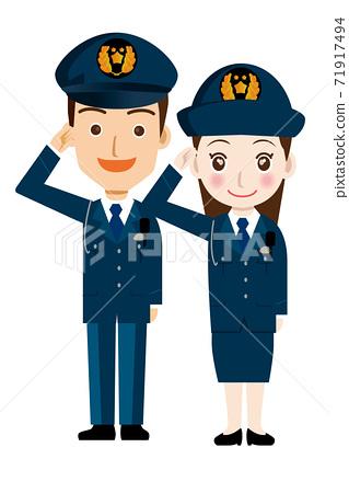男性和女性警官,一名警官和一名身穿制服的警察向工人獻出犧牲的插圖。 71917494