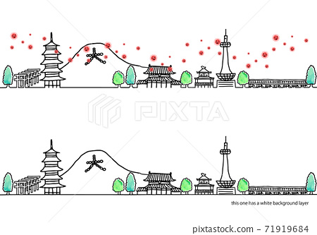簡單的手寫京都市容和新的電暈病毒線圖集 71919684