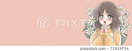 Shojo manga style, beautiful girl crying with emotion, Showa style, 70's style, banner style, background flowers 71919714