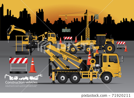 Construction Vehicles Set with Building Background Vector Illustration 71920211