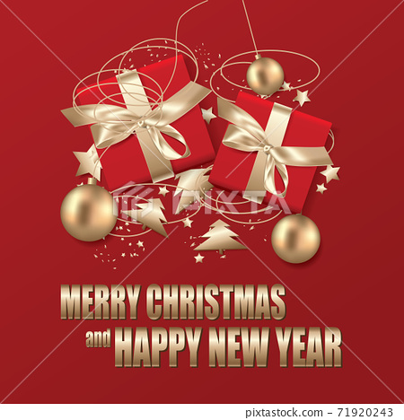 Merry Christmas & Happy New Year Template background Vector Illustration 71920243