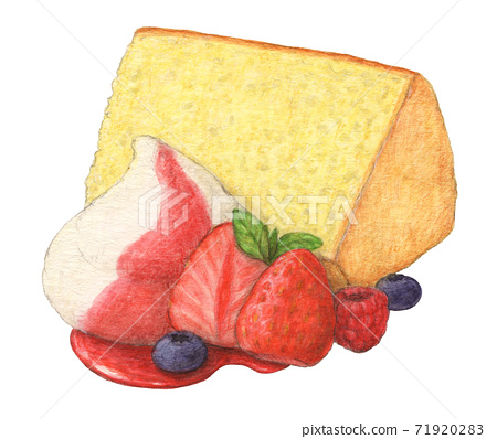 Hand-painted watercolor pencil drawing with chiffon cake berry 71920283