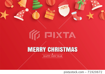 Merry christmas and happy new year red greeting card in paper art banner template. Use for poster, cover, flyer. 71920672
