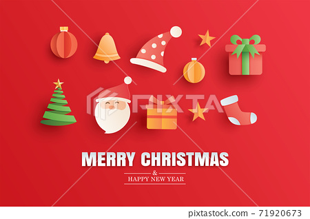 Merry christmas and happy new year red greeting card in paper art banner template. Use for poster, cover, flyer. 71920673