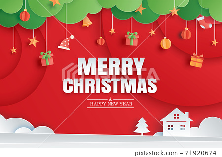 Merry christmas and happy new year red greeting card in paper art banner template. Use for poster, cover, flyer. 71920674