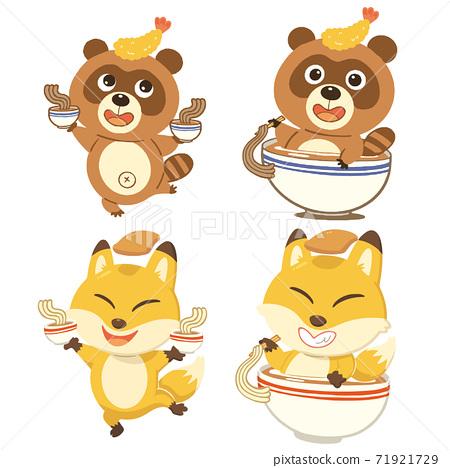 喜愛蕎麥和烏冬面的狸小狐狸的插圖集。沒有電話 71921729
